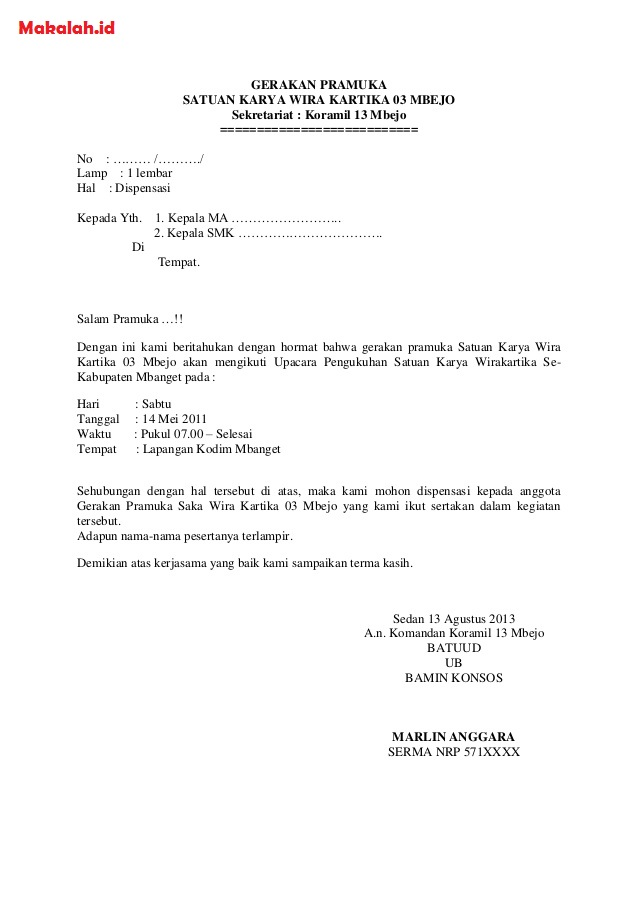 Contoh Surat Dispensasi Definisi Format Surat Dispensasi Kuliah