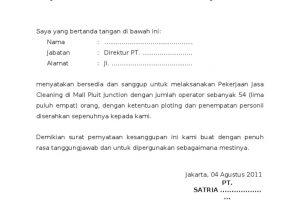 4 Surat Pernyataan Kesanggupan Kerja dan Contoh Formatnya