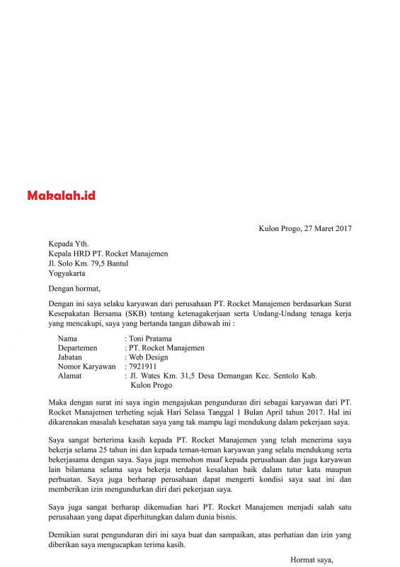 Contoh Surat Pengunduran Diri Dari Jabatan Lengkap Dengan Format