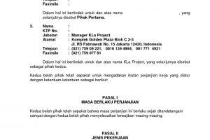 contoh surat perjanjian kontrak kerja
