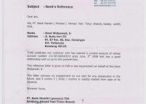 3 Contoh Surat Referensi Bank Untuk Visa (Bank BCA, MANDIRI, CIMB NIAGA)