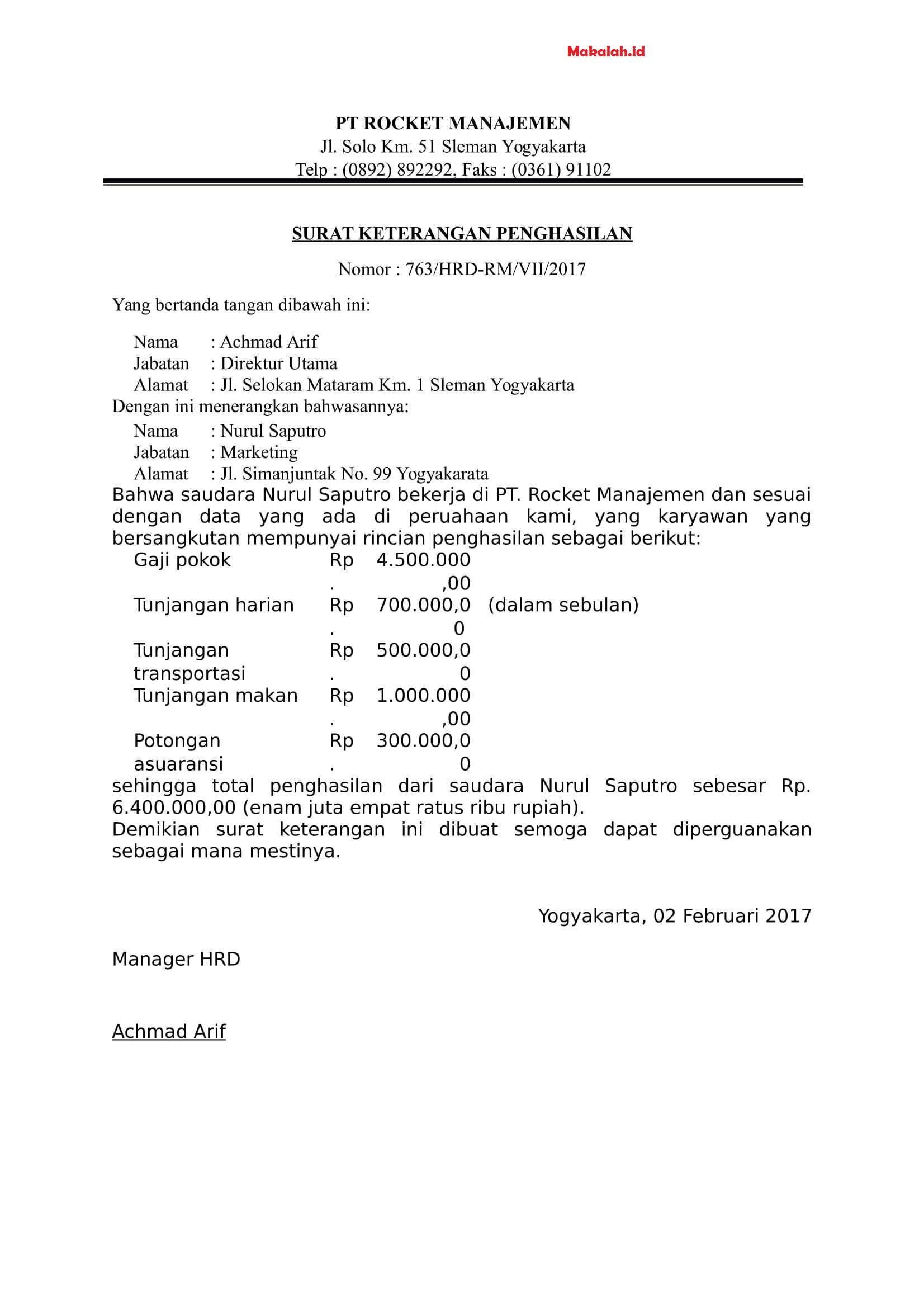 4 Contoh Surat Keterangan Penghasilan Karyawan Wiraswasta Dan