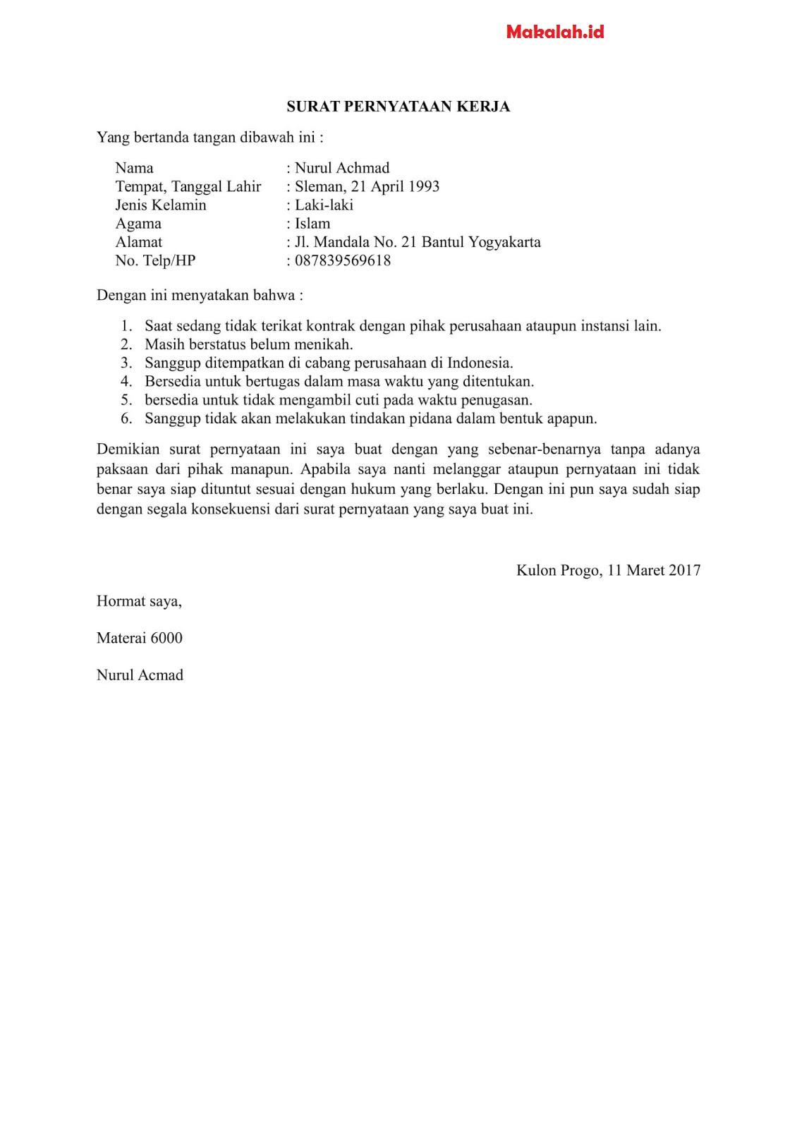 4 contoh surat pernyataan kerja dengan format berbagai