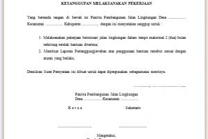 Contoh Surat Pernyataan Kesanggupan
