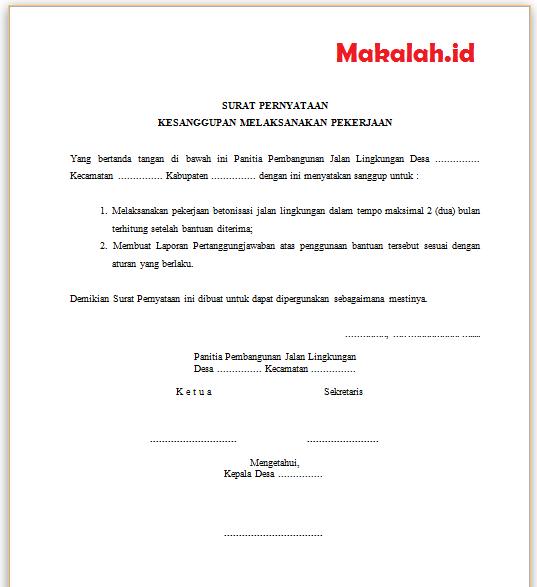2 Contoh Surat Pernyataan Kesanggupan Kerja Dan Pembayaran ...