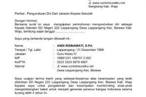 Contoh surat pengunduran diri dari jabatan Kepala Sekolah