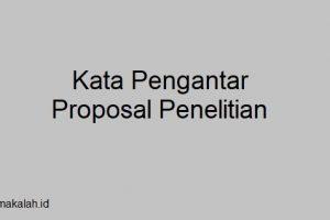Kata Pengantar Proposal Penelitian